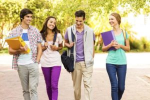 4 Students Walking