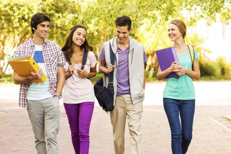 4 Students Walking
