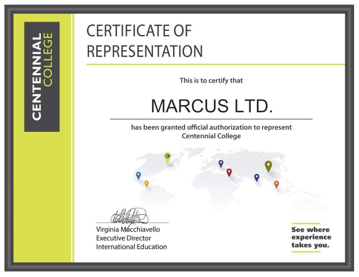 Agent Certificate Marcus Ltd