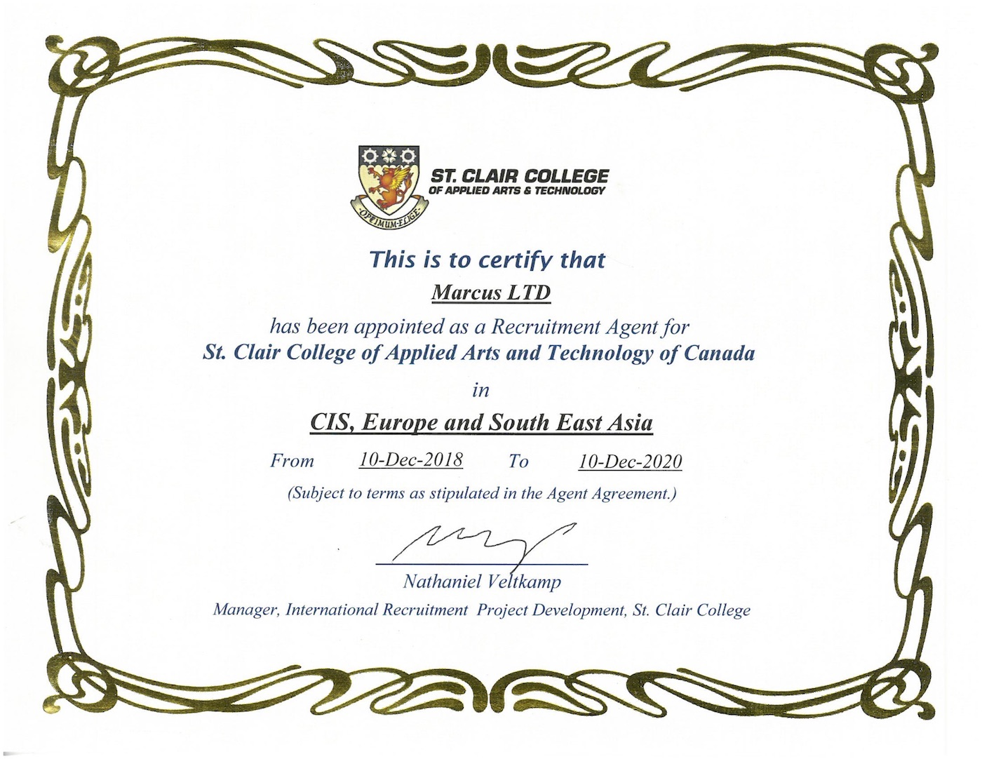 St Clair College Certificate