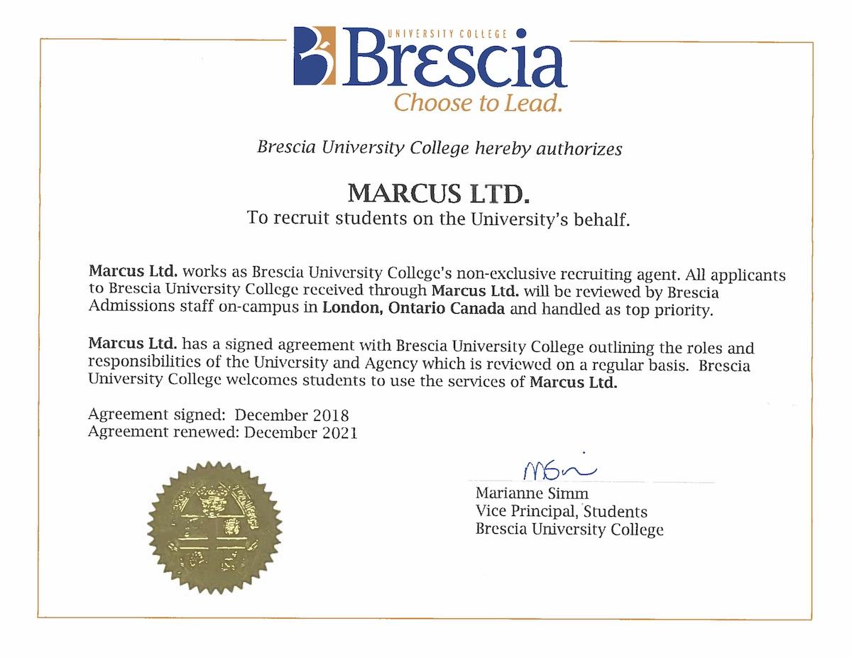 Agency Certificate Marcus Ltd