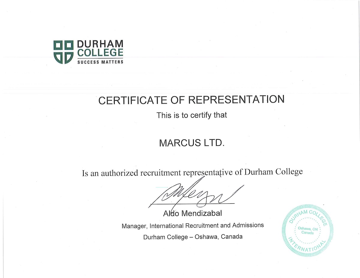 Durham College Certificate