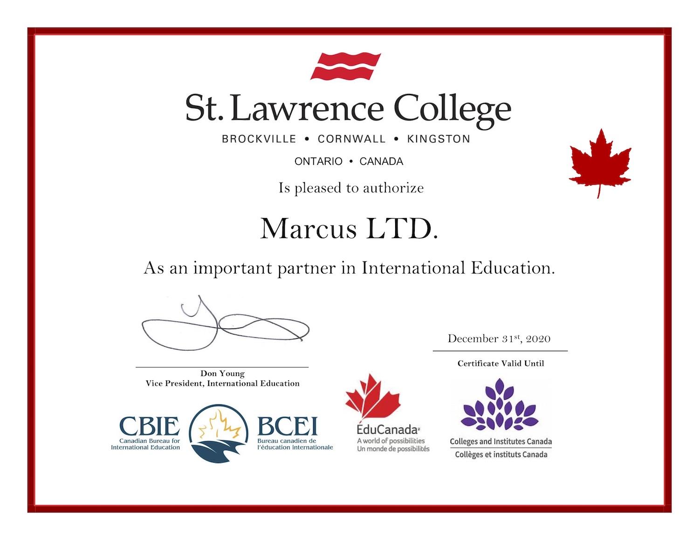 Marcus Ltd Certificate