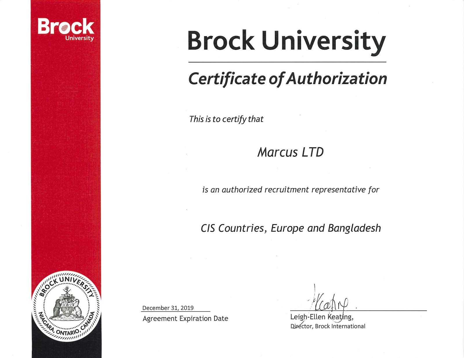 Brock Agent Certificate
